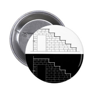 Drawing of a brick stair with stone or marble slab 2 inch round button