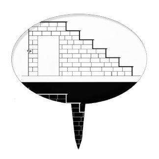 Drawing of a brick stair with stone or marble slab cake topper