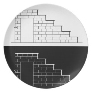 Drawing of a brick stair with stone or marble slab dinner plate