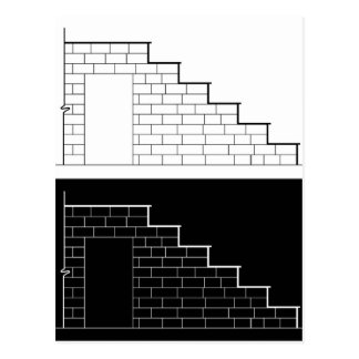Drawing of a brick stair with stone or marble slab postcard