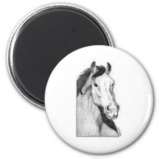 drawing of a horse (black and white) 2 inch round magnet