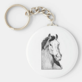 drawing of a horse (black and white) keychain