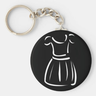 Drawing of a pinafore basic round button keychain