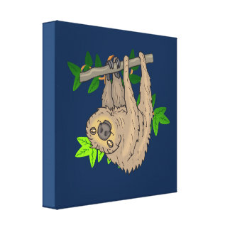 Drawing of a Sloth Hanging Upside Down Canvas Print
