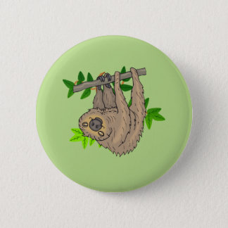 Drawing of a Sloth Hanging Upside Down Pinback Button