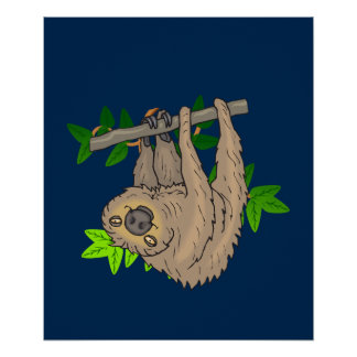Drawing of a Sloth Hanging Upside Down Poster