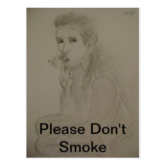 DRAWING OF A SMOKER POSTCARD