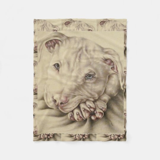 Drawing Of A White Pitbull On Blanket Zazzle Com