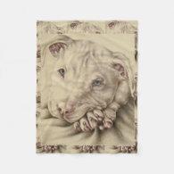Drawing of a White Pitbull on Blanket Fleece Blanket