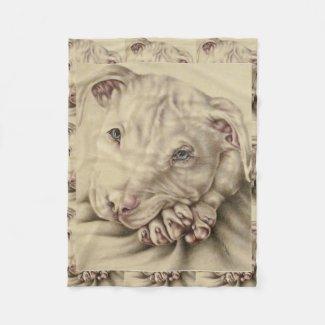 Drawing of a White Pitbull on Fleece Blanket