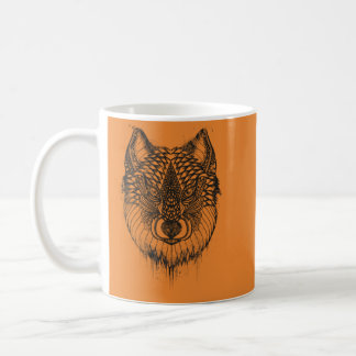 Drawing of a wolf coffee mug