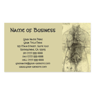 Drawing of a Woman's Torso by Leonardo da Vinci Business Card Template