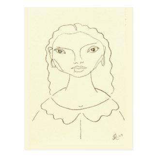 Drawing of a Young Girl Brazilian Angel Postcard
