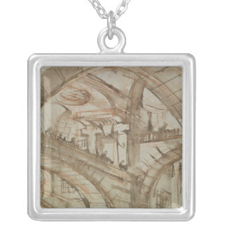 Drawing of an Imaginary Prison Silver Plated Necklace