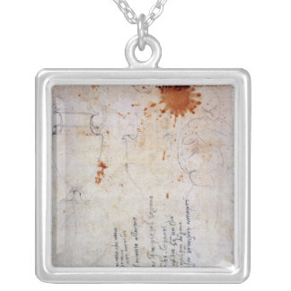 Drawing of an Urn and Figure with Notes Silver Plated Necklace