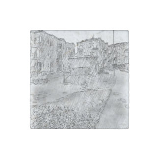 Drawing of apartment stone magnet