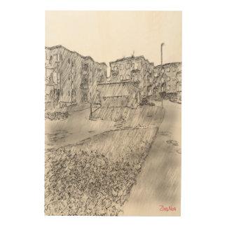 Drawing of apartment wood print