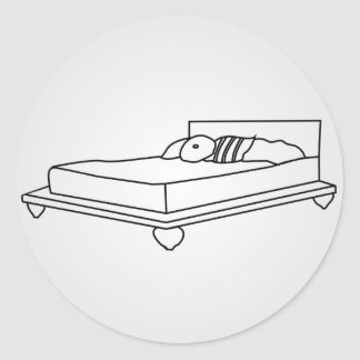 Drawing of bedroom furniture classic round sticker