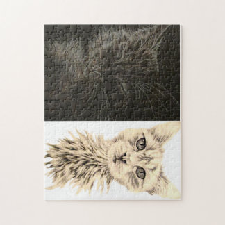 Drawing of Black and White Cats on Puzzle