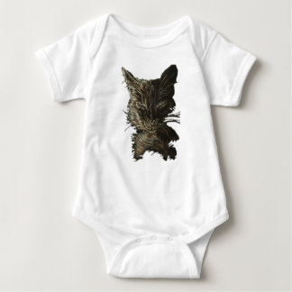 Drawing of Black Cat on Baby Shirt