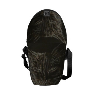Drawing of Black Cat on Messenger Bag