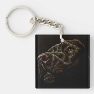 Drawing of Black Dog and White Cat on Key Chain
