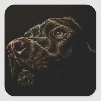Drawing of Black Dog in Sticker