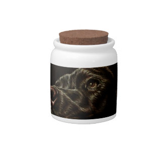 Drawing of Black Dog on Candy Jar