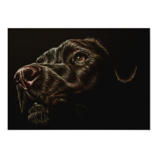 "Drawing of Black Dog on Invitation 5"" x 7"""