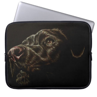 "Drawing of Black Dog on Sleeve 15"" Laptop Sleeves"