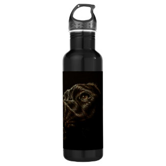 Drawing of Black Dog on Stainless Steel Water Bottle