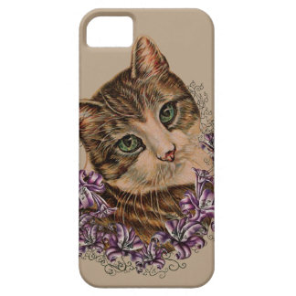 Drawing of Brown Cat and Lilies Lily Art iPhone SE/5/5s Case