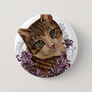 Drawing of Brown Cat and Lilies Lily Art Pinback Button