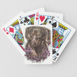 Drawing of Brown Dachshund Dog and Lilies Art Bicycle Playing Cards