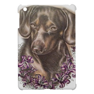 Drawing of Brown Dachshund Dog and Lilies Art Case For The iPad Mini
