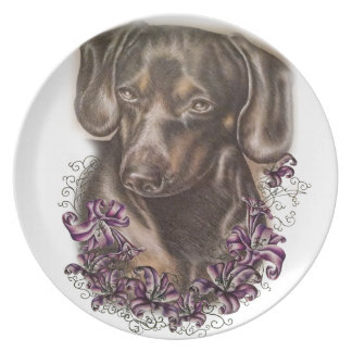 Drawing of Brown Dachshund Dog and Lilies Art Plate