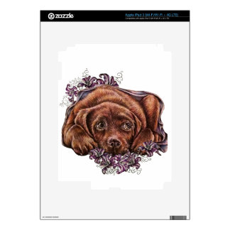 Drawing of Brown Labrador Dog and Lilies Skin For iPad 3