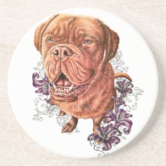 Drawing of Brown Mastiff Dog Art and Lilies Sandstone Coaster
