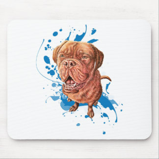 Drawing of Brown Mastiff Dog Art and Paint Mouse Pad