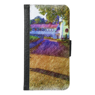 Drawing of Building Wallet Phone Case For Samsung Galaxy S6