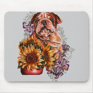 Drawing of Bulldog Sunflowers and Lilies Mouse Pad