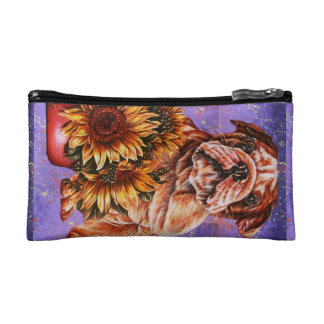 Drawing of Bulldog Sunflowers with Purple Paint Cosmetic Bag