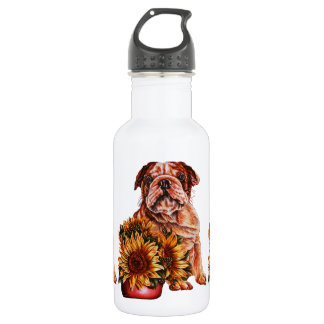 Drawing of Bulldog With Sunflowers Water Bottle