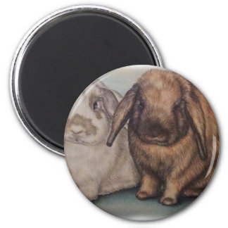 Drawing of Bunnie Rabbits Cute Animal Art 2 Inch Round Magnet