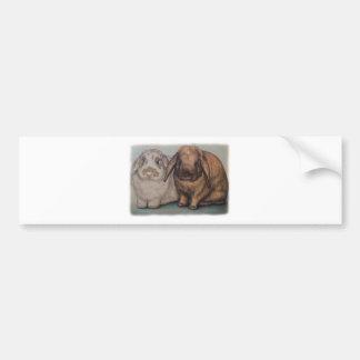 Drawing of Bunnie Rabbits Cute Animal Art Bumper Sticker