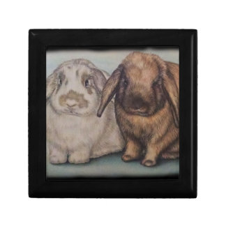 Drawing of Bunnie Rabbits Cute Animal Art Keepsake Box
