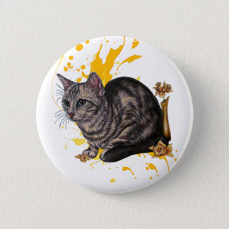 Drawing of Cat and Daffodils Animal Art and Paint Button