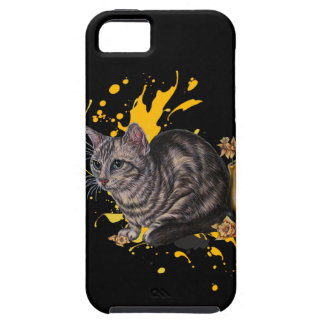 Drawing of Cat and Daffodils Animal Art and Paint iPhone SE/5/5s Case