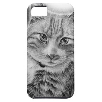 Drawing of Cat Art with Black and Grey Paint iPhone SE/5/5s Case