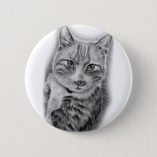 Drawing of Cat Black and White Animal Art Button